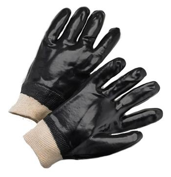"West Chester 1007 Black PVC Coated, 12"" Length, Smooth Finish, Interlock Lined, Knit Wrist Gloves"