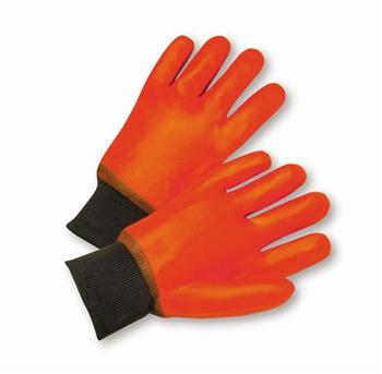 West Chester 1007OR, Fluorescent Orange PVC, Smooth Finish, Foam Lining, Knit Wrist Gloves