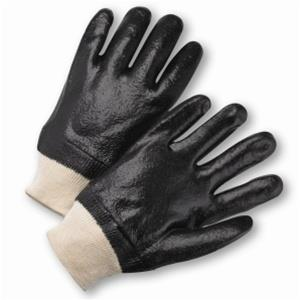 West Chester 1007R Black PVC Coated, Semi-Rough Grip Finish, Interlock Lined, Knit Wrist Gloves