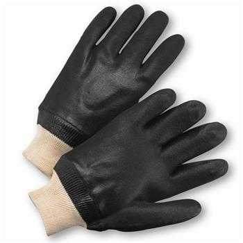 West Chester 1007RF, Black PVC Coated, Sandpaper Grip, Knit Wrist, Interlock Lining Gloves