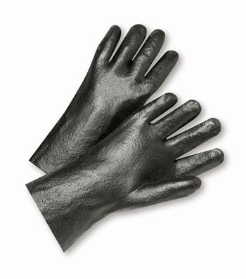 "West Chester 1047R Black PVC Coated, 14"" Length, Rough Grip Finish, Interlock Lined Gloves"