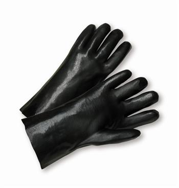 "West Chester 1087 Black PVC Coated, 18"" Length, Smooth Finish, Interlock Lining Gloves"