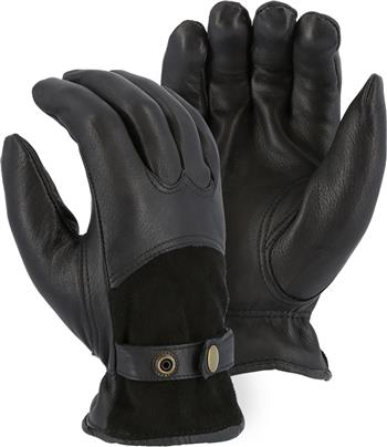 Majestic 1546T Black Deerskin Drivers Gloves, 40 Gram Thinsulate Insulated, Reversed Back, Grain Palm, Keystone Thumb & Adjustable Leather Strap