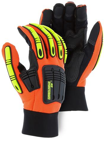"Majestic 21242HO Knucklehead X10 Mechanics Glove, Armor Skin, Neoprene Padding, PVC Patches, Hi Vis Orange, ""The New King of the Oil & Gas Industry"", Box/Dozen Pairs"