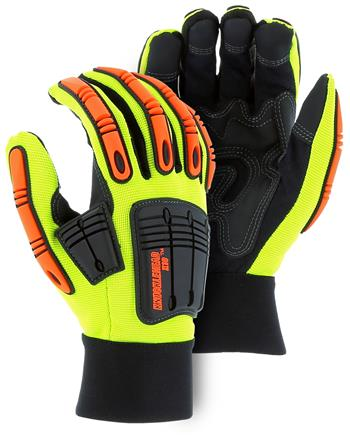 "Majestic 21242HY Knucklehead X10 Mechanics Glove, Armor Skin, Neoprene Padding, PVC Patches, Hi Vis Yellow, ""The New King of the Oil & Gas Industry"", Box/Dozen Pairs"