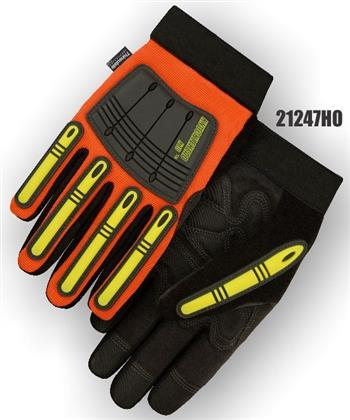 "Majestic 21247HO Knucklehead X10 Mechanics Winter Glove, Armor Skin Leather Palm, Thinsulate Lined, Neoprene Padding, PVC Patches, Waterproof & Hydrocarbon Proof, Hi Vis Orange, ""The New King of the Oil & Gas Industry"", Box/Dozen Pairs"