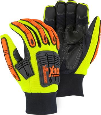 "Majestic 21247HY Knucklehead X10 Mechanics Winter Glove, Armor Skin Leather Palm, Thinsulate Lined, Neoprene Padding, PVC Patches, Waterproof & Hydrocarbon Proof, Hi Vis Yellow, ""The New King of the Oil & Gas Industry"", Box/Dozen Pairs"