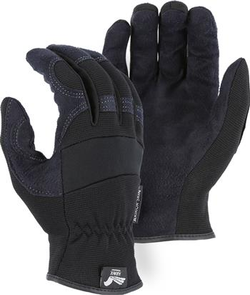 "Majestic 2136BK Armor Skin Glove, Unlined, Black, Elastic Wrist- Slip On, Synthetic ""Tougher than Leather"" Mechanics Gloves"