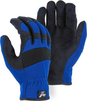 "Majestic 2136BL Armor Skin Glove, Unlined, Blue, Elastic Wrist- Slip On, Synthetic ""Tougher than Leather"" Mechanics Gloves"