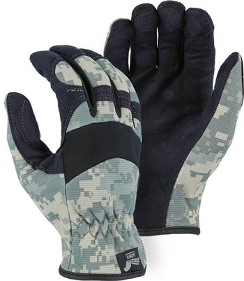 "Majestic 2136C1 Armor Skin Glove, Unlined, Camouflage, Elastic Wrist- Slip On, Synthetic ""Tougher than Leather"" Mechanics Gloves"