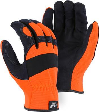 "Majestic 2136HO Armor Skin Glove, Unlined, Hi Vis Yellow, Elastic Wrist- Slip On, Synthetic ""Tougher than Leather"" Mechanics Gloves"