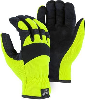 "Majestic 2136HY Armor Skin Glove, Unlined, Hi Vis Yellow, Elastic Wrist- Slip On, Synthetic ""Tougher than Leather"" Mechanics Gloves"