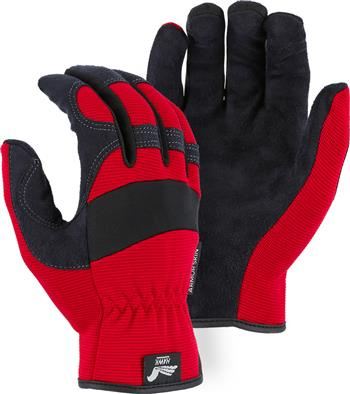 "Majestic 2136R Armor Skin Glove, Unlined, Red, Elastic Wrist- Slip On, Synthetic ""Tougher than Leather"" Mechanics Gloves"