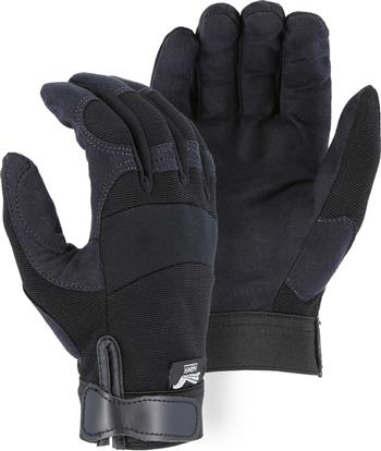 "Majestic 2137BK Armor Skin Glove, Unlined, Black, Velcro Closure, Synthetic ""Tougher than Leather"" Mechanics Gloves"