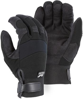 "Majestic 2137BKF Armor Skin Gloves, HeatFleece Lined, Neoprene Knuckle, Winter Lined, Velcro Closure, Synthetic ""Tougher than Leather"", Black"