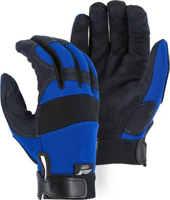 "Majestic 2137BL Armor Skin Glove, Unlined, Blue, Velcro Closure, Synthetic ""Tougher than Leather"" Mechanics Gloves"