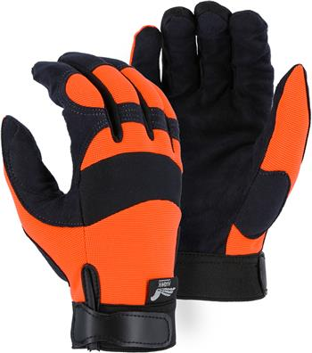 "Majestic 2137HO Armor Skin Glove, Unlined, Hi Vis Orange, Velcro Closure, Synthetic ""Tougher than Leather"" Mechanics Gloves"