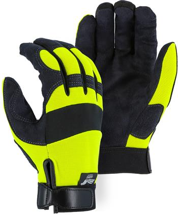 "Majestic 2137HY Armor Skin Glove, Unlined, Hi Vis, Velcro Closure, Synthetic ""Tougher than Leather"" Mechanics Gloves"
