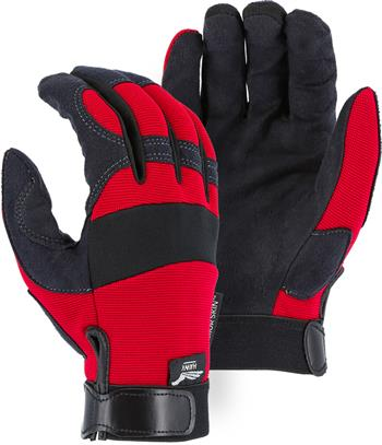 "Majestic 2137R Armor Skin Glove, Unlined, Red, Velcro Closure, Synthetic ""Tougher than Leather"" Mechanics Gloves"