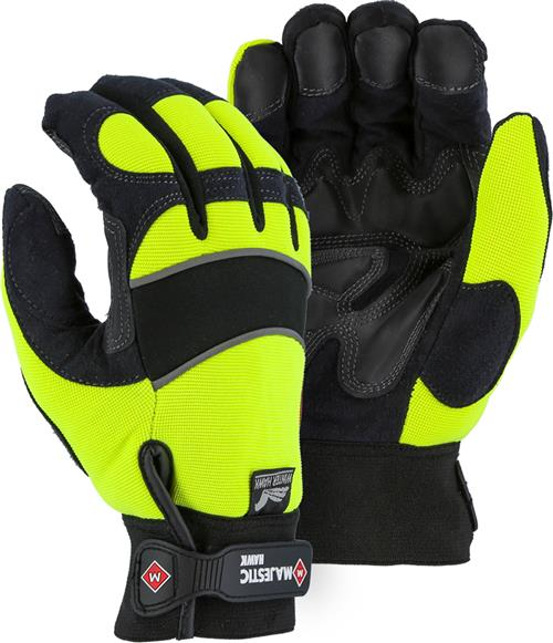Majestic 2145HYH Winter Hawk Mechanics Glove, Armor Skin, 100% Waterproof, Heatlok Lined w/ M-Patch Palm/Finger, Neoprene Knuckle, Velcro, Hi Vis Yellow, Box/Dozen Pairs