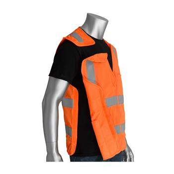 PIP Class 2 FR-Treated 5-Point Breakaway Solid Fabric Vest, Orange #305-5PVFROR