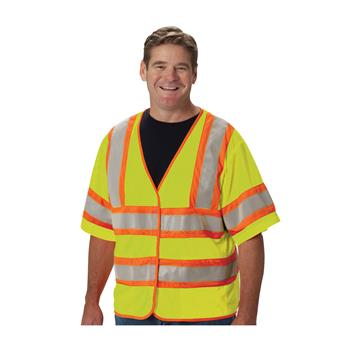 PIP ANSI Class 3 FR-Treated Mesh Vest, Lime Yellow, 2 Internal Pockets #305-HSVPFRLY