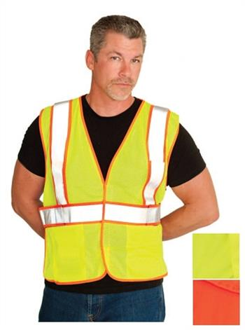 PIP Class 2 FR-Treated Mesh Vest, Lime Yellow with 2 Internal Pockets #305-MVFRLY
