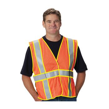 PIP Class 2 FR-Treated Mesh Vest, Orange, Adjustable #305-USV5FROR
