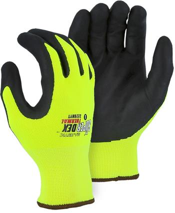 Majestic 3228HYT SuperDex Winter Lined Gloves, Micro Foam Nitrile Palm Coated, Heavy Weight Thermal Liner, Yellow/Black, Box/12 Prs