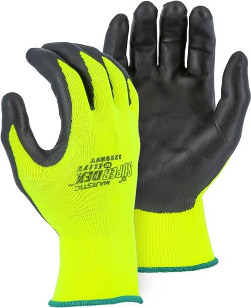 Majestic 3229HVY SuperDex Elite, Micro Foam Nitrile Palm & Finger Coated Gloves, 15-Gauge Liner, Breathable, Hi Vis Yellow/Black
