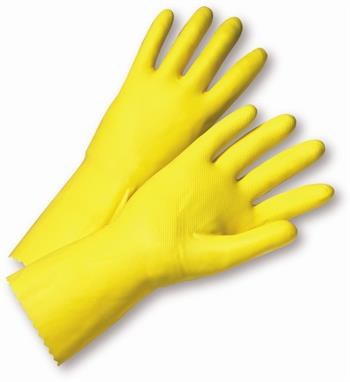 West Chester 3312 16 Mil Flock Lined Latex Chemical Resistant Gloves, Bulk Pack