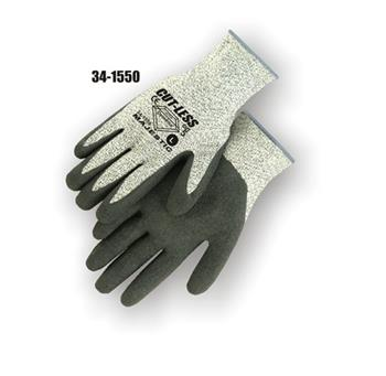 Majestic 34-1550, Dyneema Cut Resistant Level 5, Continuous Fiber, 10-Gauge Filament Yarn, Rubber Palm Coated, Gray Shell, Gray Palm Gloves