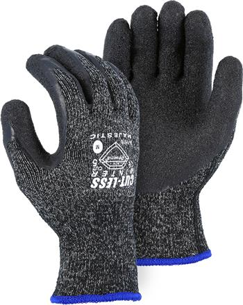Majestic 34-1570, Winter-Lined Dyneema Glove, Cut Resistant Level 5, Latex Palm, Black, Terry Loop Acrylic Lined