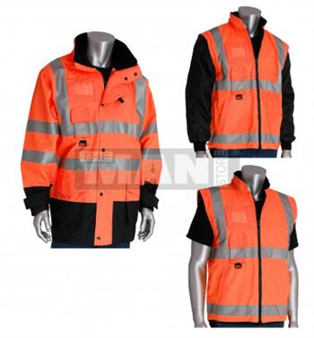 PIP Hi Vis Class 3 All Seasons 7-in-1 Coat, Reversible Class 2 Inner Jacket, Orange with Black Trim, Attached Hood, 2-inch 3M Silver Tape, Waterproof,  # 343-1756-OR