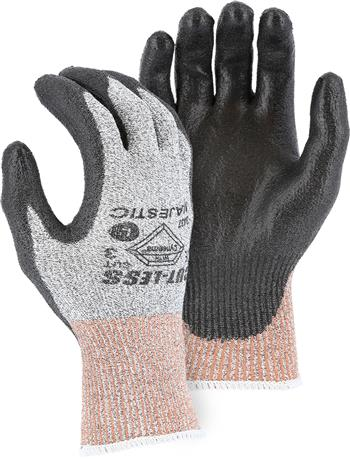 Majestic 3437, Dyneema Cut Resistant Level 3, Ring Spun, 13-Gauge Seamless Knit, Polyurethane Palm Coated, Gray Shell, Gray Palm Gloves