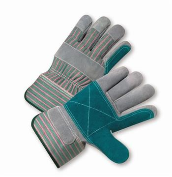 "West Chester 500DP-A, 500LDP-A Select Split Cowhide Leather Palm, Canvas Back, 2 1/2"" Rubberized Safety Cuff Gloves"
