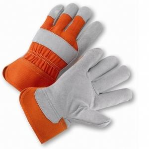 "West Chester 558OR, Select Shoulder Leather Palm Glove, 2 1/2"" Rubberized Safety Cuff, Orange Canvas Back Gloves, Box/Dozen Pairs"