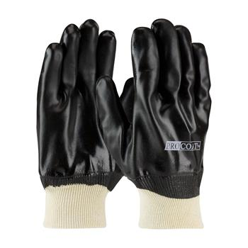 PIP  Procoat Pvc Gloves, Smooth Finish, Black, Knitwrist, Interlock Lined #58-8015