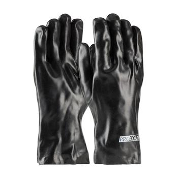 "PIP  Procoat Pvc Gloves, Smooth Finish, Black, 12"" Length, Interlock Lined #58-8030"