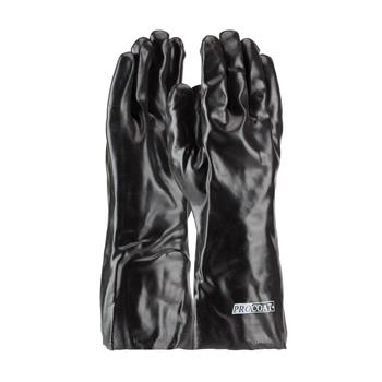 "PIP  Procoat Pvc Gloves, Smooth Finish, Black, 14"" Length, Interlock Lined #58-8040"