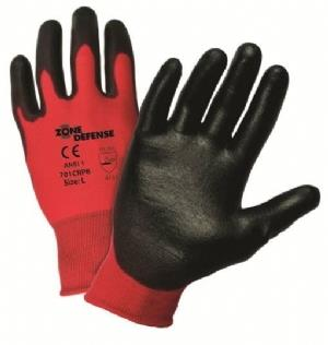 West Chester 701CRPB, Zone Defense 15 Gauge Red Nylon Shell with Black Polyurethane Palm Coated, EN Level 1, ANSI 1