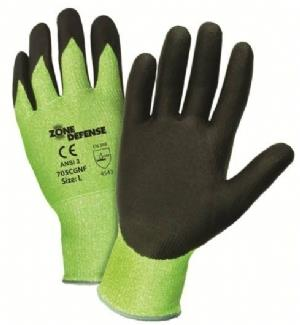 West Chester 705CGNF, Zone Defense 10 Gauge Dyneema Glove, Green HPPE Shell with Black Nitrile Foam Palm Coated, EN Level 5
