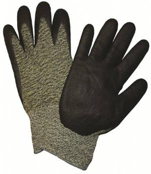 West Chester 710SANF 10 Gauge Black & Yellow Aramid Glove, Polyamide Shell, Black Foam Nitrile Coated,  Antibacterial/DMF Free: ANSI Cut Level 4