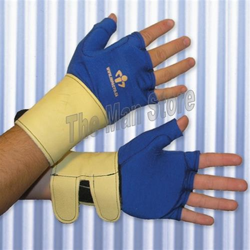 IMPACTO 714-20 Fingerless Anti-Impact Glove Liner with Detachable Wrist Support, Polycotton, Grain Leather Wrist, Viscolas™ VEP Padded Palm/Web