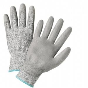 West Chester 720DGU, Gray Polyurethane Coated Gloves, Cut Resistant HPPE Fiber, 10X Stronger than Steel