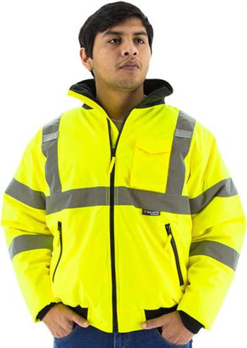 Majestic 75-1300 High Visibility Waterproof Bomber Jacket, Lime Yellow, Fixed Quilted Liner, Economical