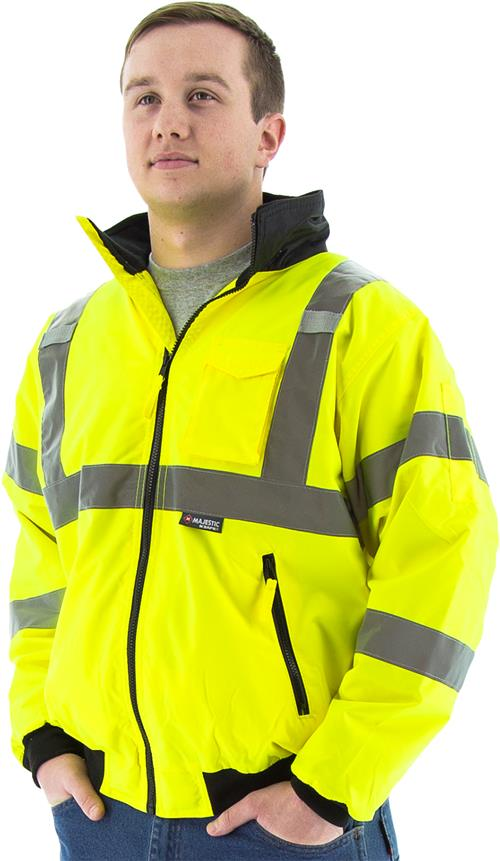 Majestic 75-1301 High Visibility Fleece Lined Waterproof Bomber Jacket, Lime Yellow