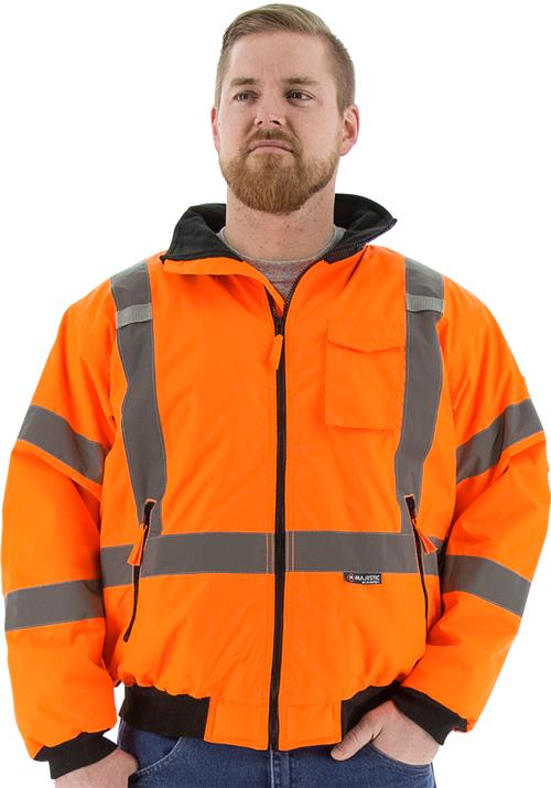 Majestic 75-1332 High Visibility Fleece Lined Waterproof 2 in 1 Bomber Jacket with X Striping, Orange, ANSI Class 3, CSA Z79