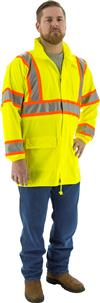 Majestic 75-7301 High Visibility ANSI Class 3 DOT Rain Jacket, Polyester, Breathable, Stretchable, Polyurethane Coated, Waterproof, Unlined, Concealed Hood, Hi Vis Yellow