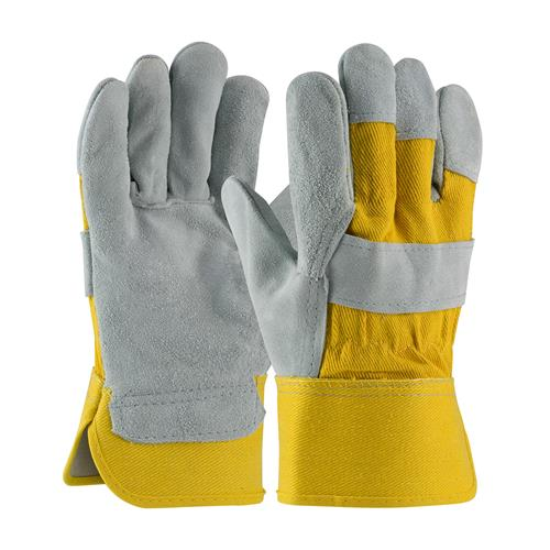"PIP  ""A"" Grade Select Shoulder Split Cowhide Leather Palm Gloves, Yellow #81-7563YB"